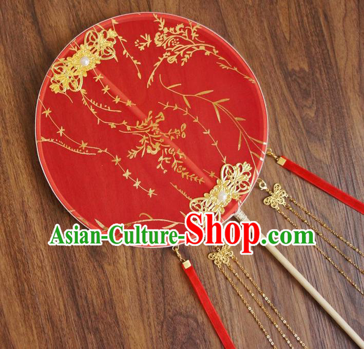 Chinese Traditional Hanfu Wedding Red Printing Palace Fans Ancient Princess Silk Round Fan for Women