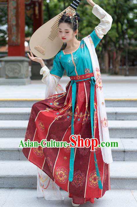 Traditional Chinese Tang Dynasty Court Lady Replica Costumes Ancient Royal Princess Red Hanfu Dress for Women