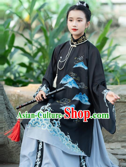 Traditional Chinese Ming Dynasty Nobility Lady Replica Costumes Ancient Court Countess Black Hanfu Dress for Women