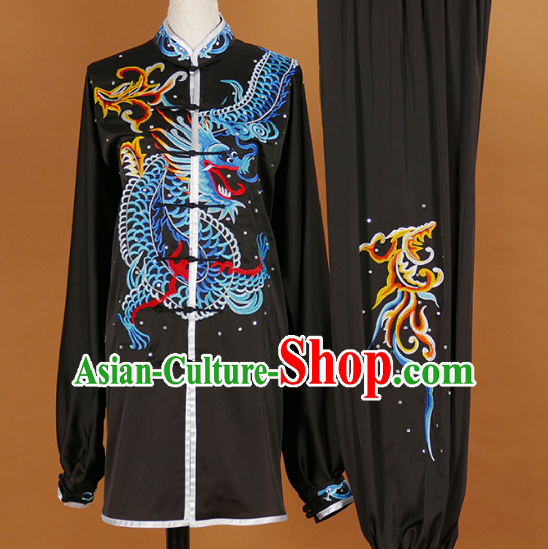 Male Martial Arts Suits Kung Fu Dress Tai Ji Suits Stage Performance Competition Full Set