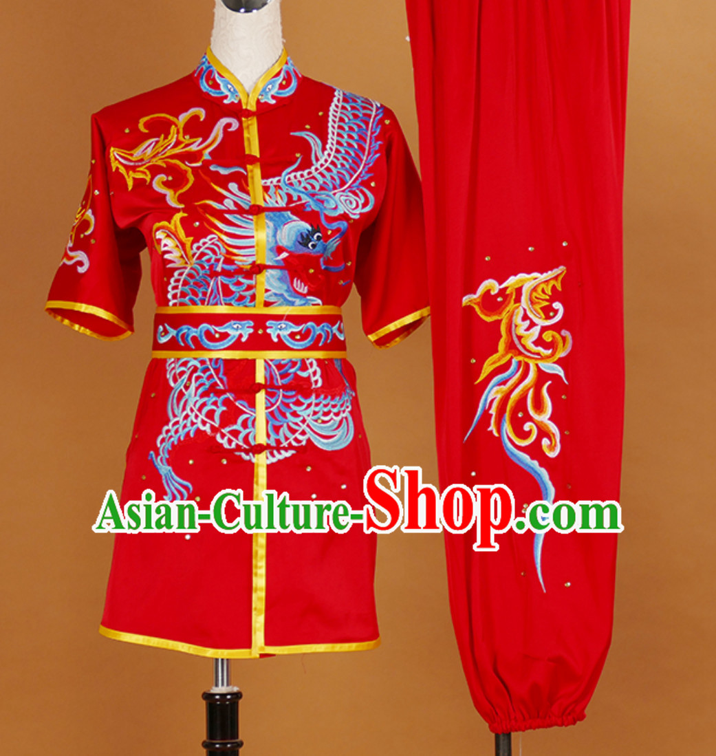 Short Sleeves Martial Arts Suit Kung Fu Dress Wushu Suits Stage Performance Competition Full Set