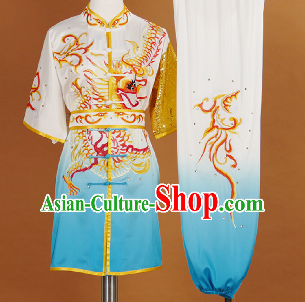 Color Transition Short Sleeves Martial Arts Suit Kung Fu Dress Wushu Suits Stage Performance Competition Full Set