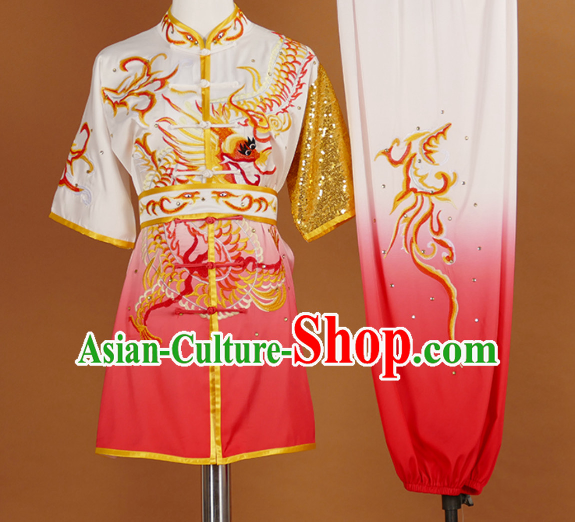 Red Color Changing Short Sleeves Martial Arts Suit Kung Fu Dress Wushu Suits Stage Performance Competition Full Set
