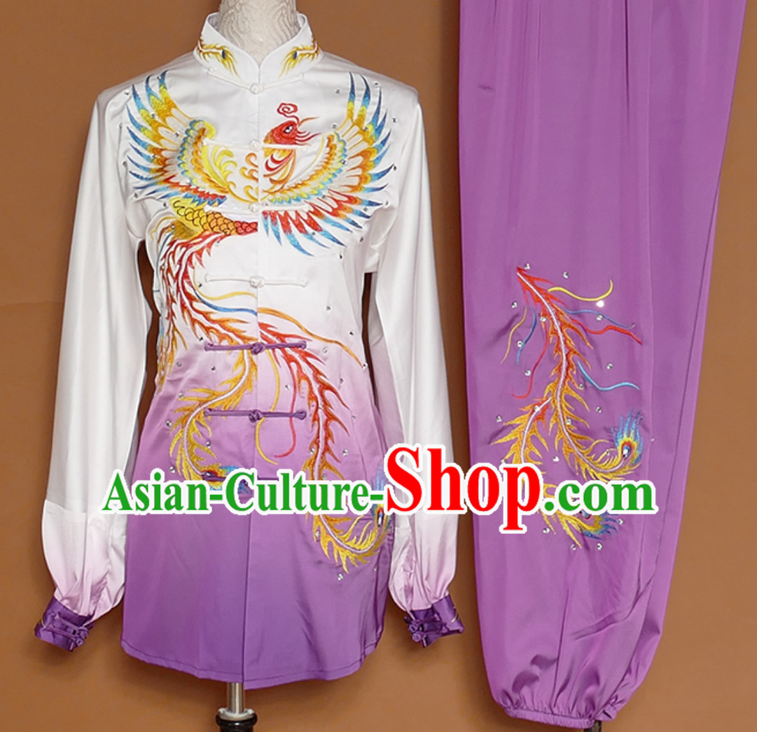 Purple Classical Giant Phoenix Embroidered Long Sleeves Martial Arts Clothing Kung Fu Dress Wushu Suits Stage Performance Championship Competition Dresses Full Set for Girls Women