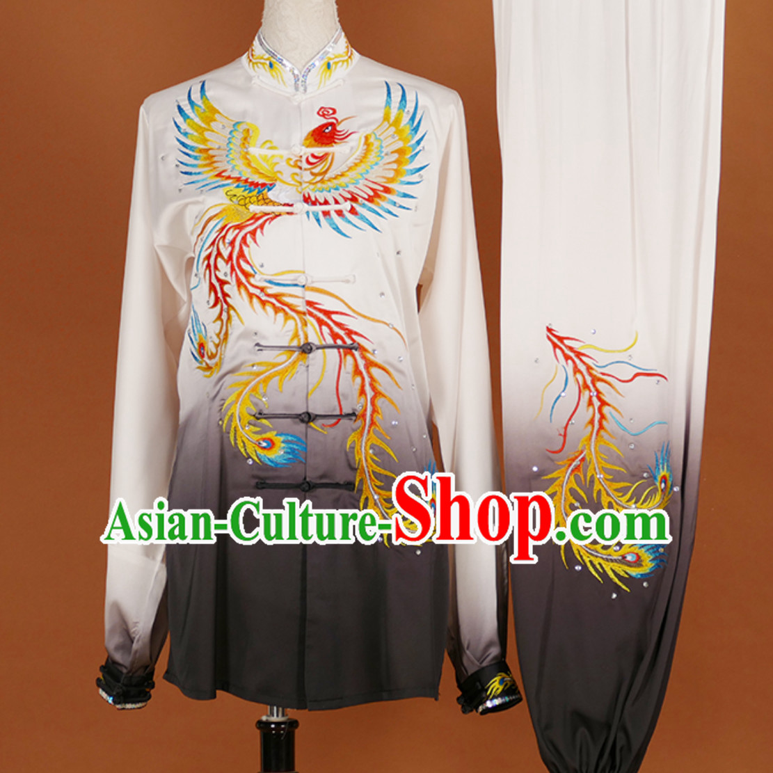 Black White Classical Giant Phoenix Embroidered Long Sleeves Martial Arts Clothing Kung Fu Dress Wushu Suits Stage Performance Championship Competition Dresses Full Set for Girls Women