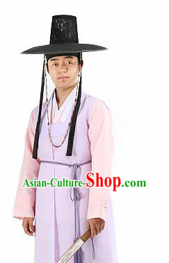 Traditional Korean Purple Hanbok Clothing Asian Korea Ancient Bridegroom Fashion Apparel Costume and Hat for Men