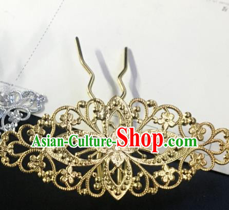Chinese Ancient Tang Dynasty Princess Golden Hair Clip Hairpins Traditional Hanfu Court Hair Accessories for Women