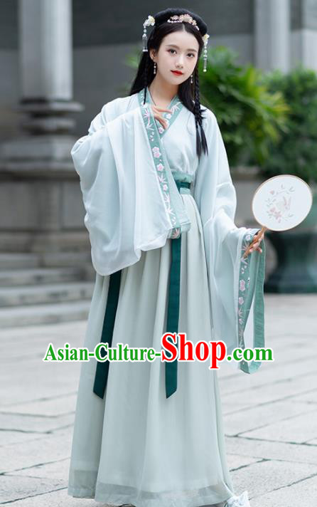 Traditional Chinese Jin Dynasty Royal Princess Replica Costumes Ancient Court Lady Green Hanfu Dress for Women