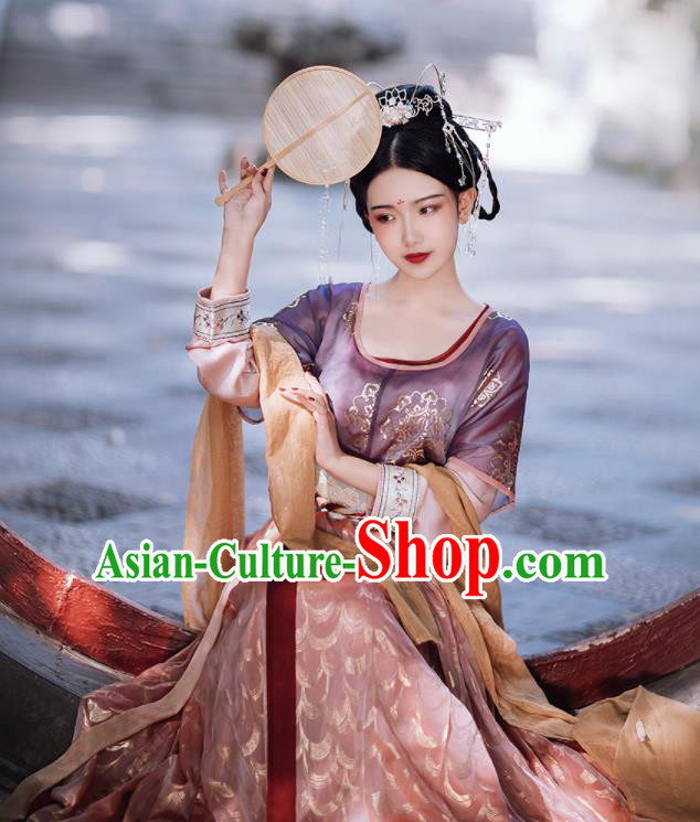 Traditional Chinese Tang Dynasty Palace Lady Replica Costumes Ancient Court Princess Purple Hanfu Dress for Women