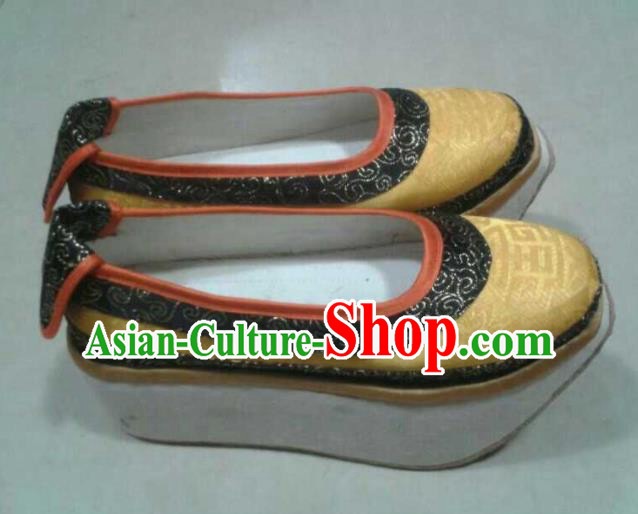 Chinese Kung Fu Shoes Mens Shoes Opera Shoes Hanfu Shoes Yellow Embroidered Shoes Monk Shoes