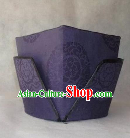 Chinese Traditional Handmade Song Dynasty Ministry Councillor Purple Hat Ancient Drama Landlord Headwear for Men
