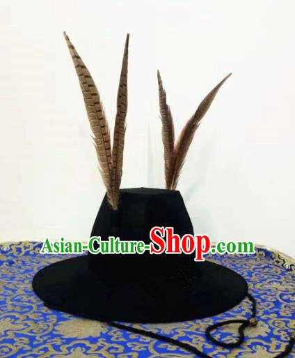 Chinese Traditional Handmade Ming Dynasty Blades Black Hat Ancient Drama Imperial Bodyguard Headwear for Men