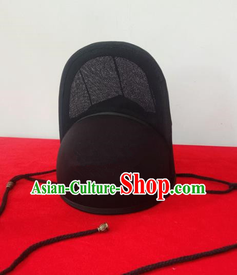 Chinese Traditional Handmade Ming Dynasty Imperial Guards Black Hat Ancient Drama Swordsman Headwear for Men