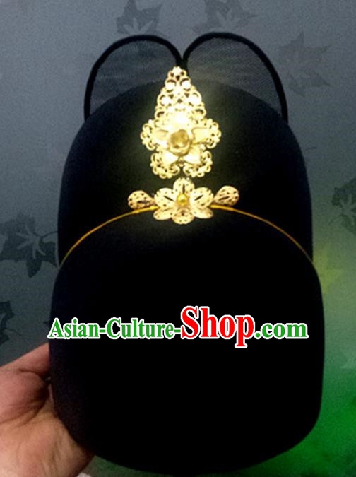 Chinese Traditional Handmade Ming Dynasty Officer Black Hat Ancient Drama Bridegroom Headwear for Men