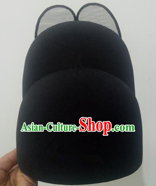 Chinese Traditional Handmade Ming Dynasty Officer Black Veil Hat Ancient Drama Bridegroom Headwear for Men