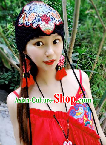 Chinese Traditional Ethnic Embroidered Hat National Handmade Black Wool Knitting Hat for Women