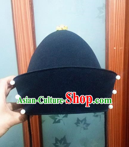 Chinese Traditional Handmade Ming Dynasty Emperor Black Hat Ancient Drama Bridegroom Headwear for Men
