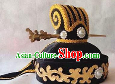 Chinese Traditional Handmade Qin Dynasty Minister Black Hat Ancient Drama Swordsman Headwear for Men
