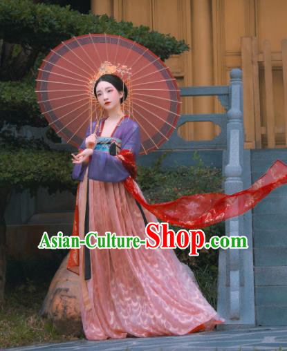 Traditional Chinese Tang Dynasty Royal Princess Replica Costumes Ancient Aristocratic Lady Pink Hanfu Dress for Women