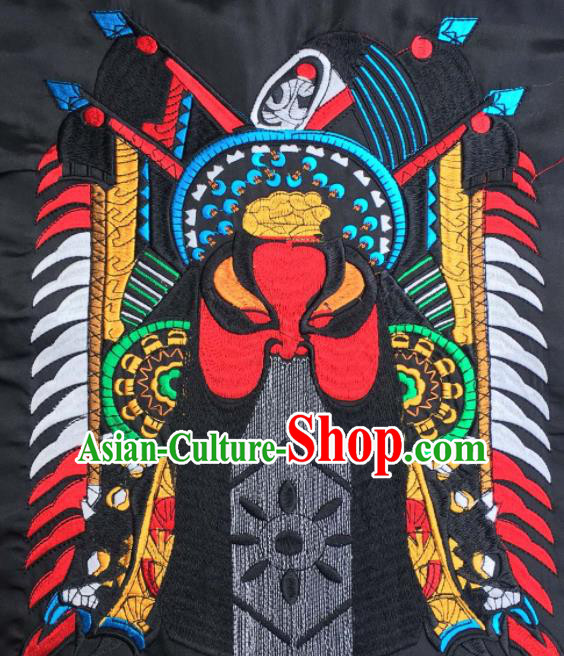 Chinese Traditional National Embroidered Beijing Opera Zhang Fei Facial Masks Applique Dress Patch Embroidery Cloth Accessories