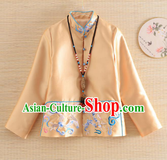 Chinese Traditional Tang Suit Embroidered Dragon Golden Jacket National Costume Qipao Upper Outer Garment for Women