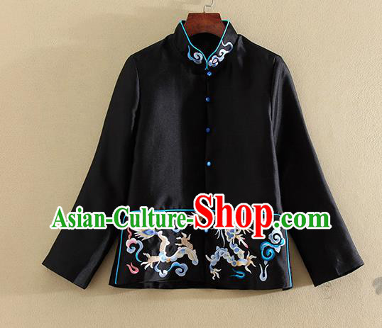 Chinese Traditional Tang Suit Embroidered Dragon Black Jacket National Costume Qipao Upper Outer Garment for Women