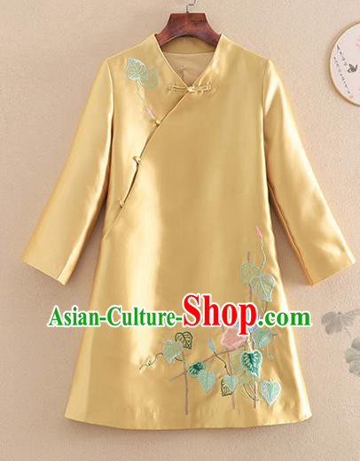 Chinese Traditional Tang Suit Embroidered Petunia Golden Jacket National Costume Qipao Upper Outer Garment for Women