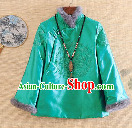 Chinese Traditional Embroidered Green Quilted Jacket National Costume Qipao Upper Outer Garment for Women