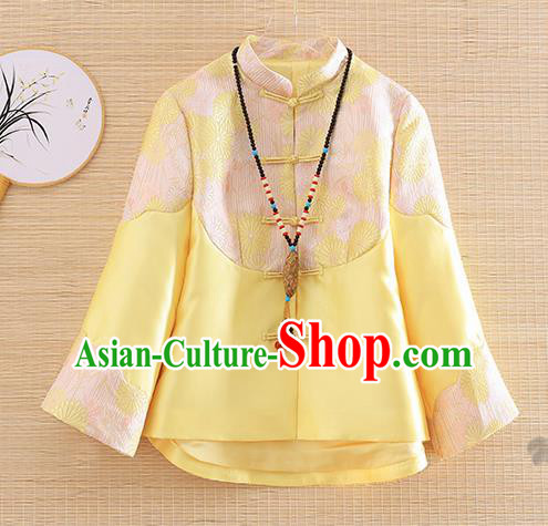 Chinese Traditional Tang Suit Yellow Jacket National Costume Qipao Upper Outer Garment for Women