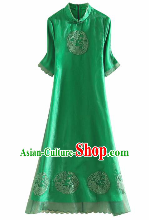 Chinese Traditional Tang Suit Embroidered Phoenix Green Cheongsam National Costume Qipao Dress for Women