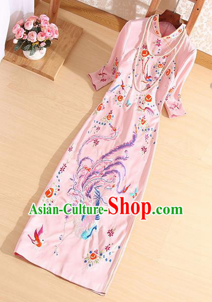 Traditional Chinese National Embroidered Phoenix Pink Qipao Dress Tang Suit Cheongsam Costume for Women