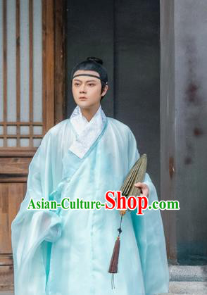 Traditional Chinese Ming Dynasty Nobility Childe Green Robe Ancient Taoist Priest Historical Costumes for Men