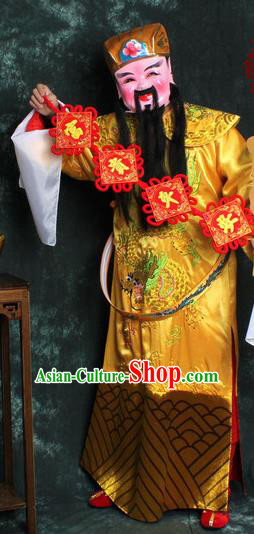 Chinese Traditional Beijing Opera Costume Ancient Wealth God Golden Robe for Men