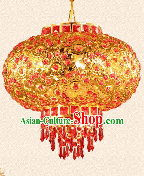 Chinese Traditional New Year Golden Round Palace Lantern Handmade Hanging Lantern Asian Ceiling Lanterns Ancient Lamp