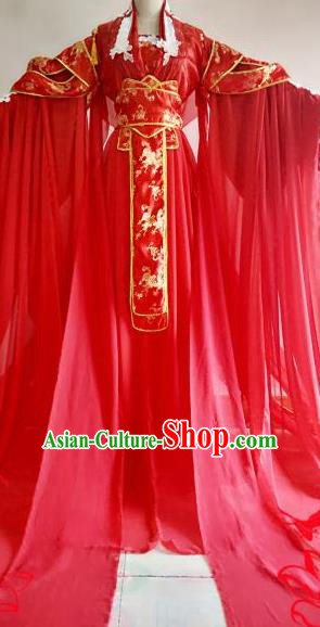 Chinese Traditional Cosplay Court Queen Wedding Costume Ancient Imperial Empress Red Hanfu Dress for Women