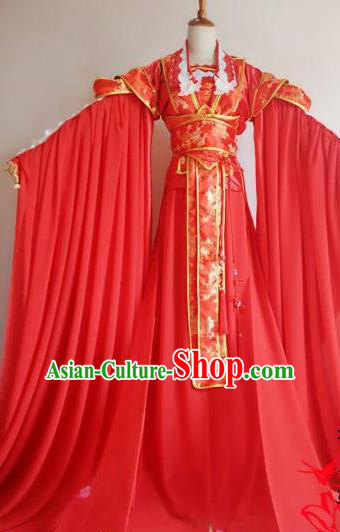 Chinese Traditional Cosplay Court Princess Wedding Costume Ancient Imperial Empress Red Hanfu Dress for Women
