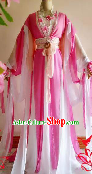 Chinese Traditional Cosplay Court Maid Pink Costume Ancient Palace Lady Hanfu Dress for Women