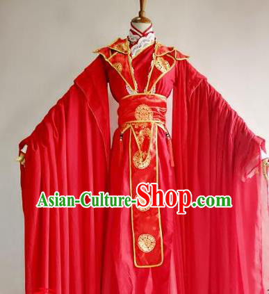 Chinese Traditional Cosplay Prince Wedding Red Costume Ancient Swordsman Hanfu Clothing for Men