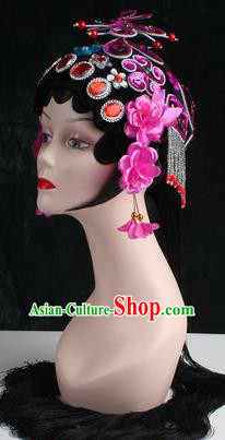 Chinese Traditional Beijing Opera Diva Purple Flower Head Ornaments Hair Accessories for Women