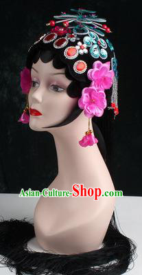 Chinese Traditional Beijing Opera Diva Blue Butterfly Head Ornaments Hair Accessories for Women