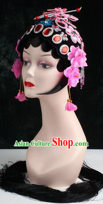 Chinese Traditional Beijing Opera Diva Pink Butterfly Head Ornaments Hair Accessories for Women