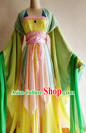 Chinese Traditional Cosplay Court Lady Costume Ancient Princess Yellow Hanfu Dress for Women