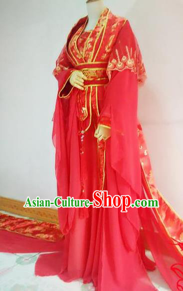Chinese Traditional Cosplay Court Lady Red Costume Ancient Royal Princess Wedding Hanfu Dress for Women