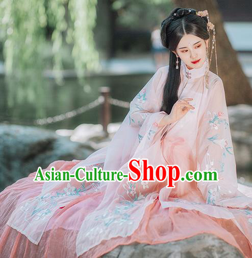 Traditional Chinese Ming Dynasty Imperial Consort Pink Hanfu Dress Ancient Nobility Lady Historical Costumes for Women