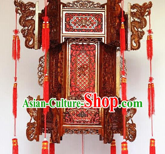 Chinese Traditional Carving Monkey Rosewood Palace Lantern Asian New Year Handmade Lantern Ancient Lamp