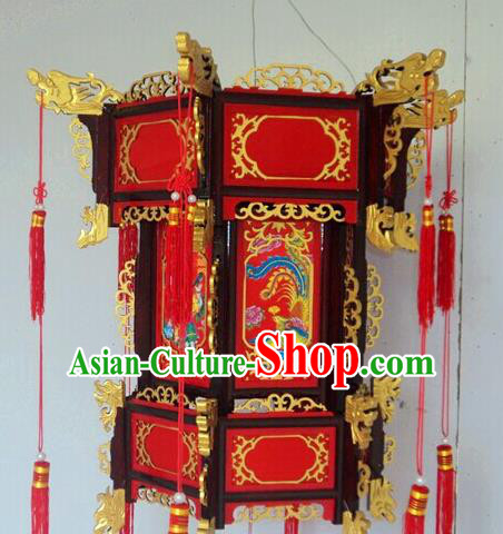 Chinese Traditional Printing Phoenix Carving Rosewood Palace Lantern Asian New Year Handmade Lantern Ancient Lamp