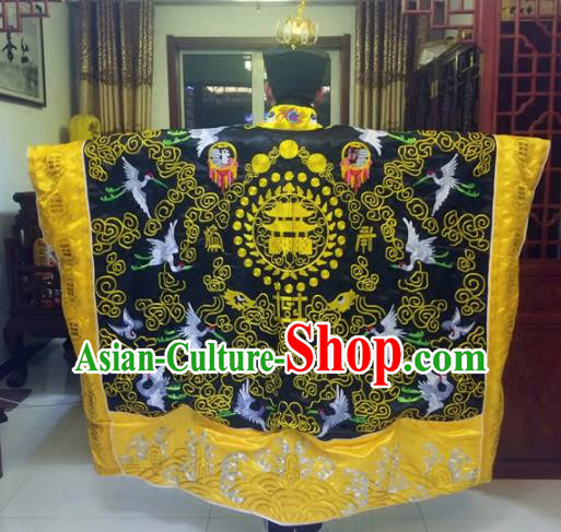 Chinese Traditional Taoism Costume Ancient Taoist Priest Cassocks Embroidered Crane Black Vestment