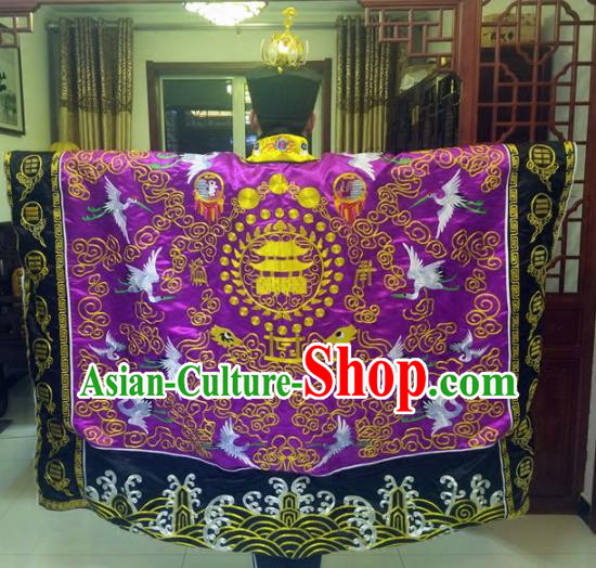 Chinese Traditional Taoism Costume Ancient Taoist Priest Cassocks Embroidered Crane Purple Vestment