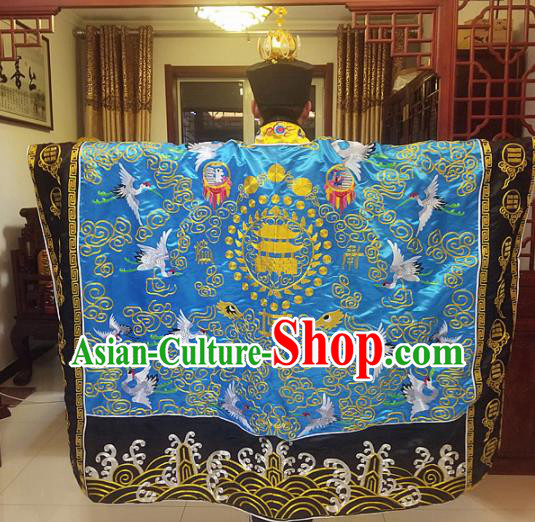 Chinese Traditional Taoism Costume Ancient Taoist Priest Cassocks Embroidered Crane Blue Vestment