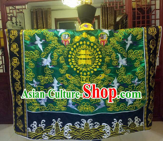 Chinese Traditional Taoism Costume Ancient Taoist Priest Cassocks Embroidered Crane Deep Green Vestment